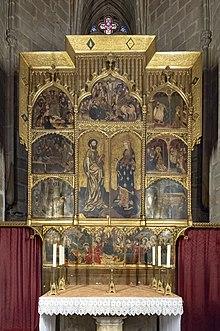 Bàn thờ thếp vàng tạo năm 1401 trong thánh đường Barcelona